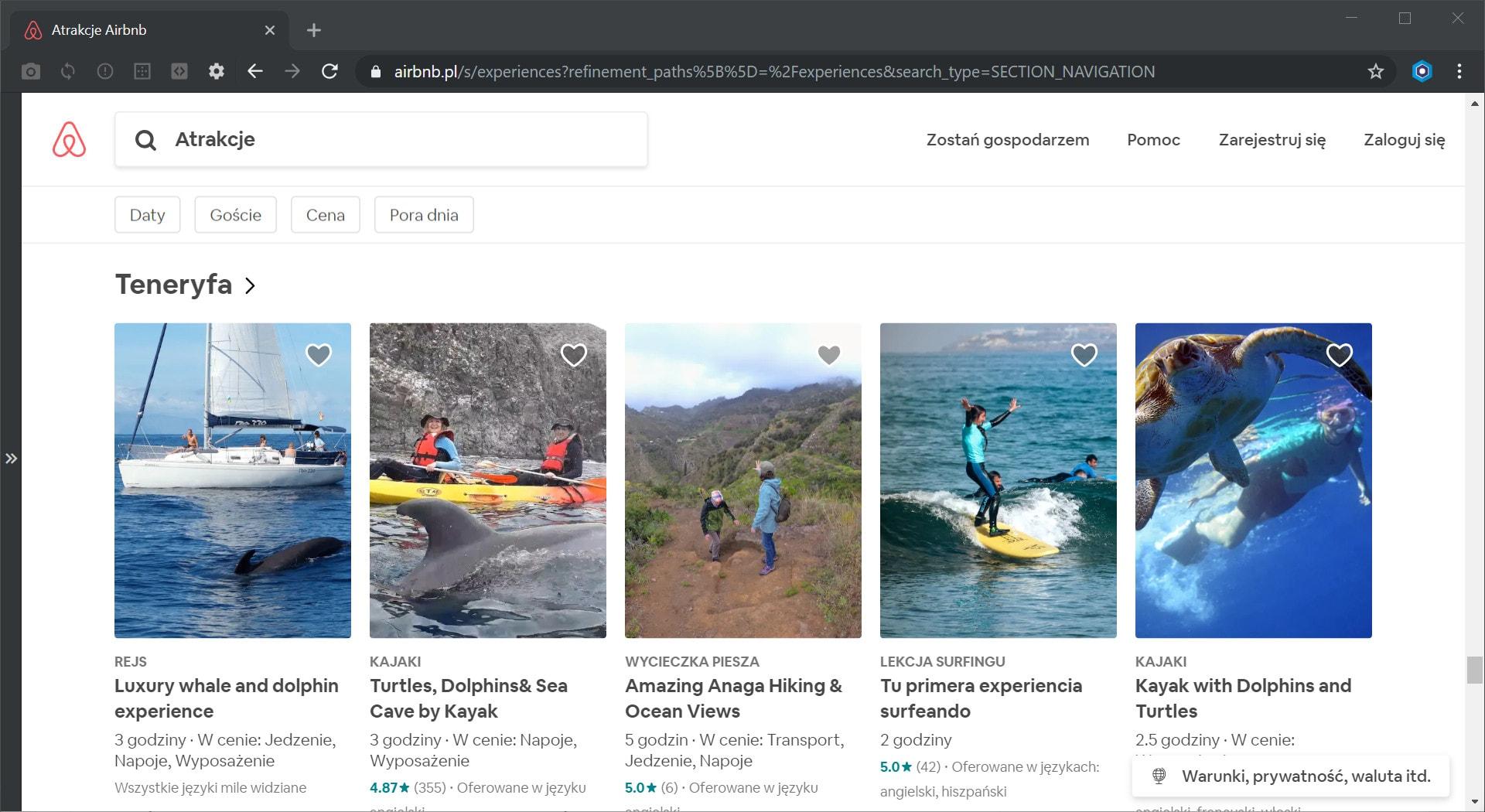Atrakcje Airbnb na Teneryfie