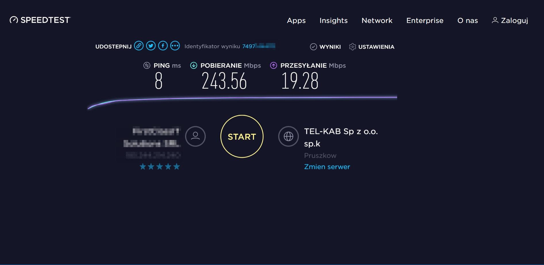 Wynik speedtest NordVPN